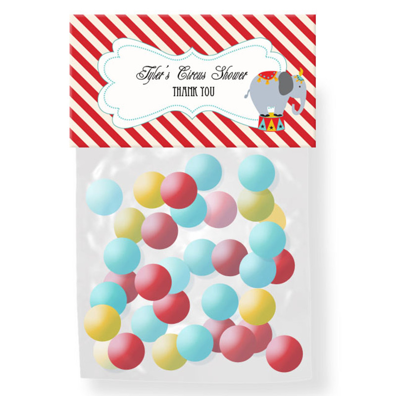 Circus Carnival Party Personalized Candy Bag Toppers
