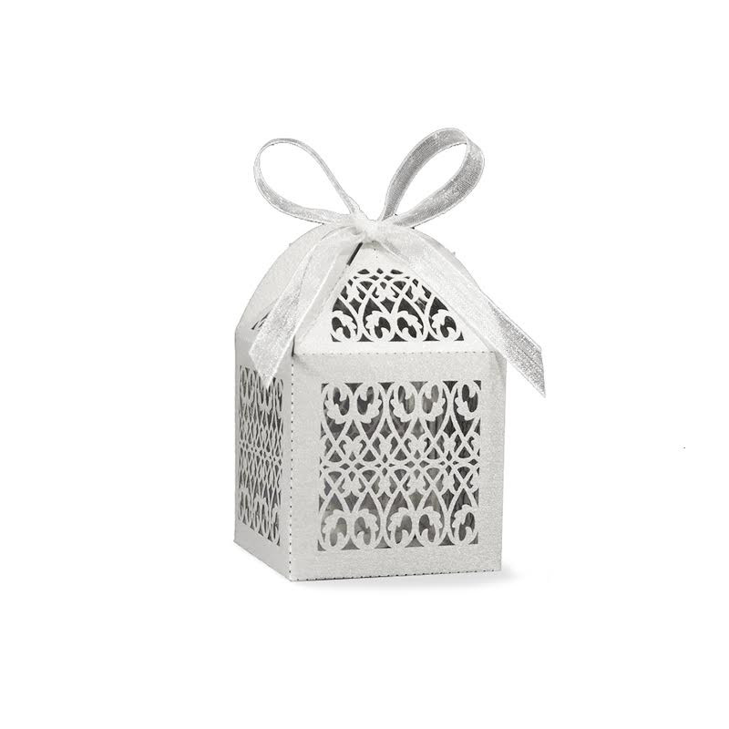 Filigree Favor Box, Available in Gold, Silver, or White