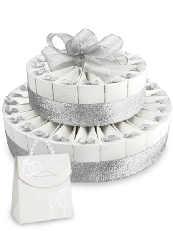 "Anniversary Silver Double Tier 8"" x 12"" Favor Cake Kit"