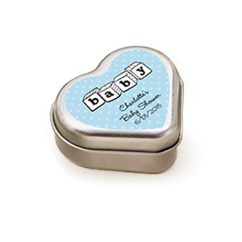 """""""MINT FOR YOU"""" BRUSHED-METAL HEART-SHAPED MINT TIN - BABY"""