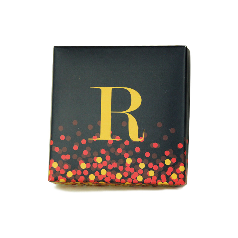 Grey Confetti Dots Monogrammed Purim Box, Three Colors and  4 Sizes Available.