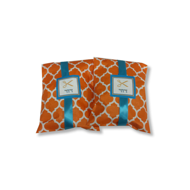 Orange Casablanca Paper Upsherin Bag with Personalized Label & Optional Ribbon