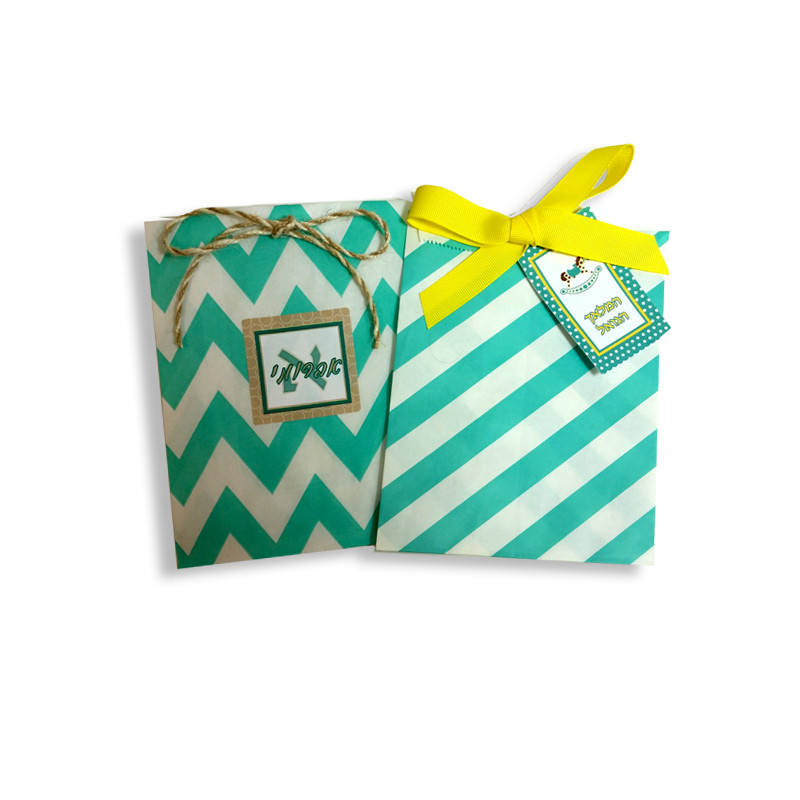 Aqua Printed Paper Bags with Optional Personalized Label