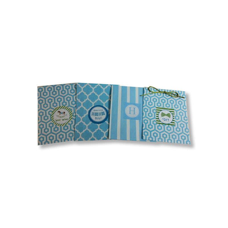 Light Blue Printed Paper Bags with Optional Personalized Label (Sold Below)