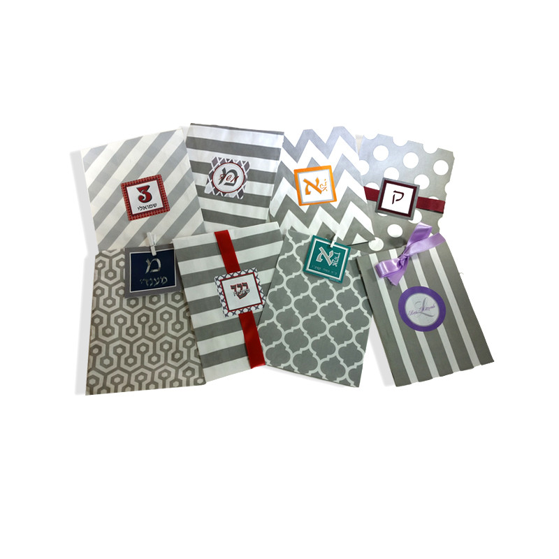 Grey Printed Paper Bags with Optional Personalized Label (Sold Below)