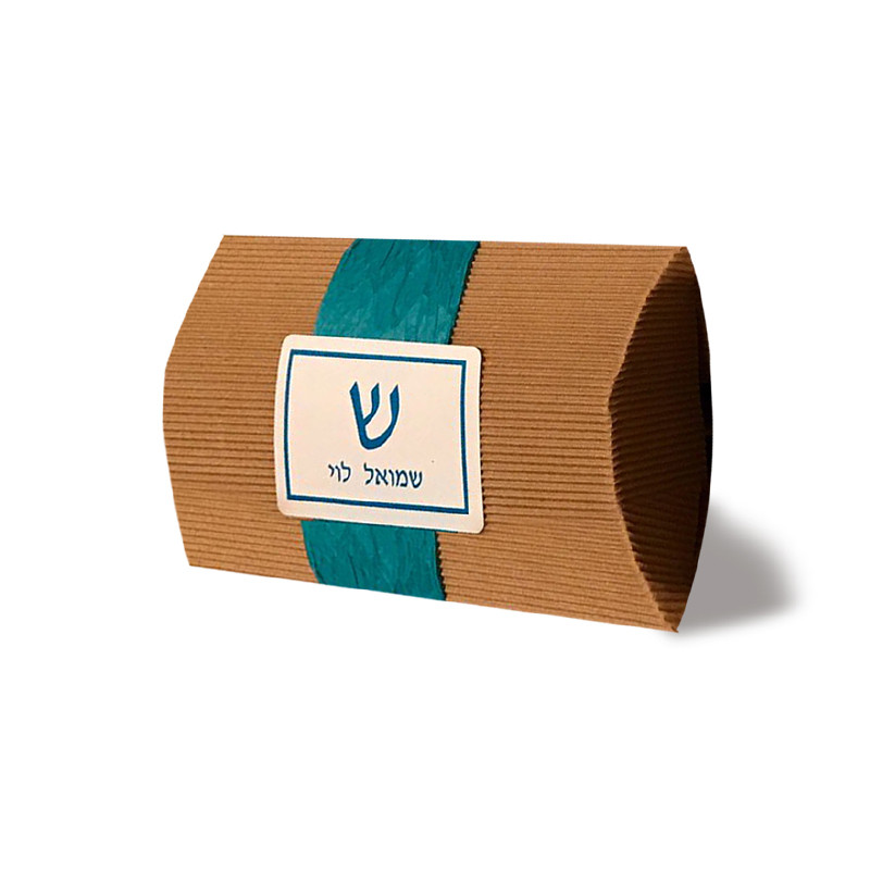 Kraft Pillow Box with Personalized Label & Optional Ribbon
