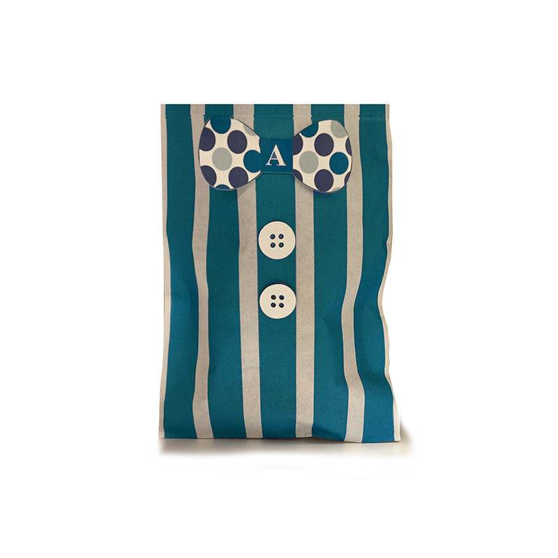 Bowtie n' Buttons Striped Bag