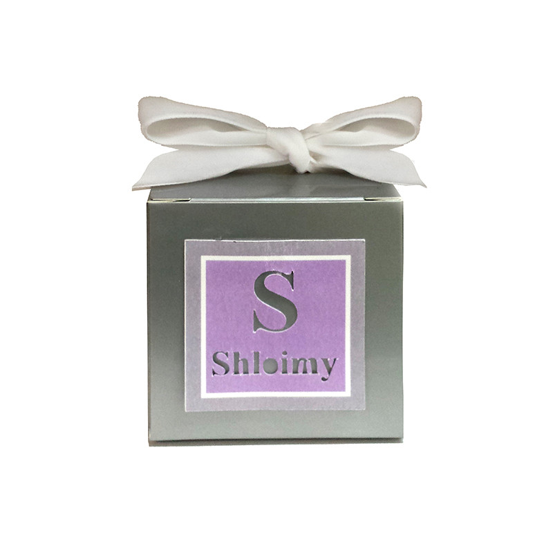 Silver 3 x 3 Upsherin Box with Two Tone Lasercut Tag (Ribbon not included)
