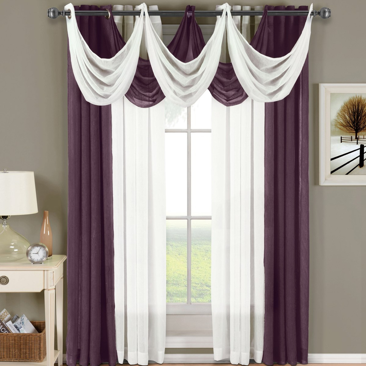 Aubergine and green curtains