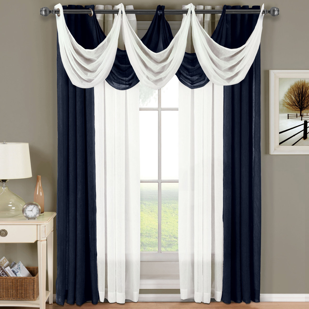 Abri Grommet Crushed Sheer Curtain Panel Single