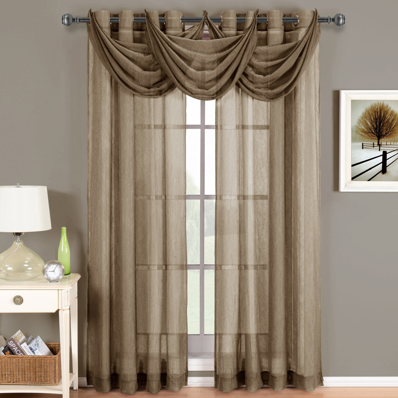 Mocha Abri Grommet Crushed Sheer Curtain Panel Single