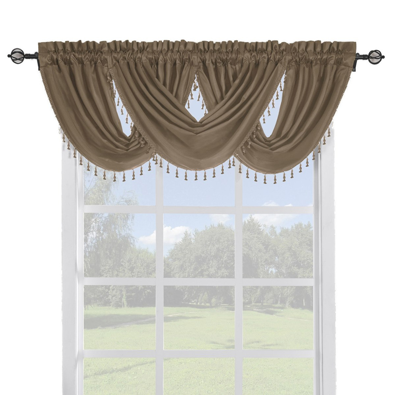 sheer linen valance pack single treatments border fringe tassel lisa valances waterfall window main store pocket top x rod