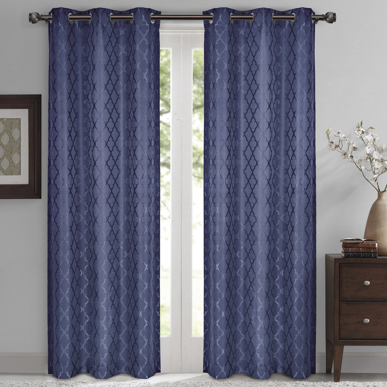 Navy Willow Geometric Jacquard Thermal Insulated Blackout Curtain