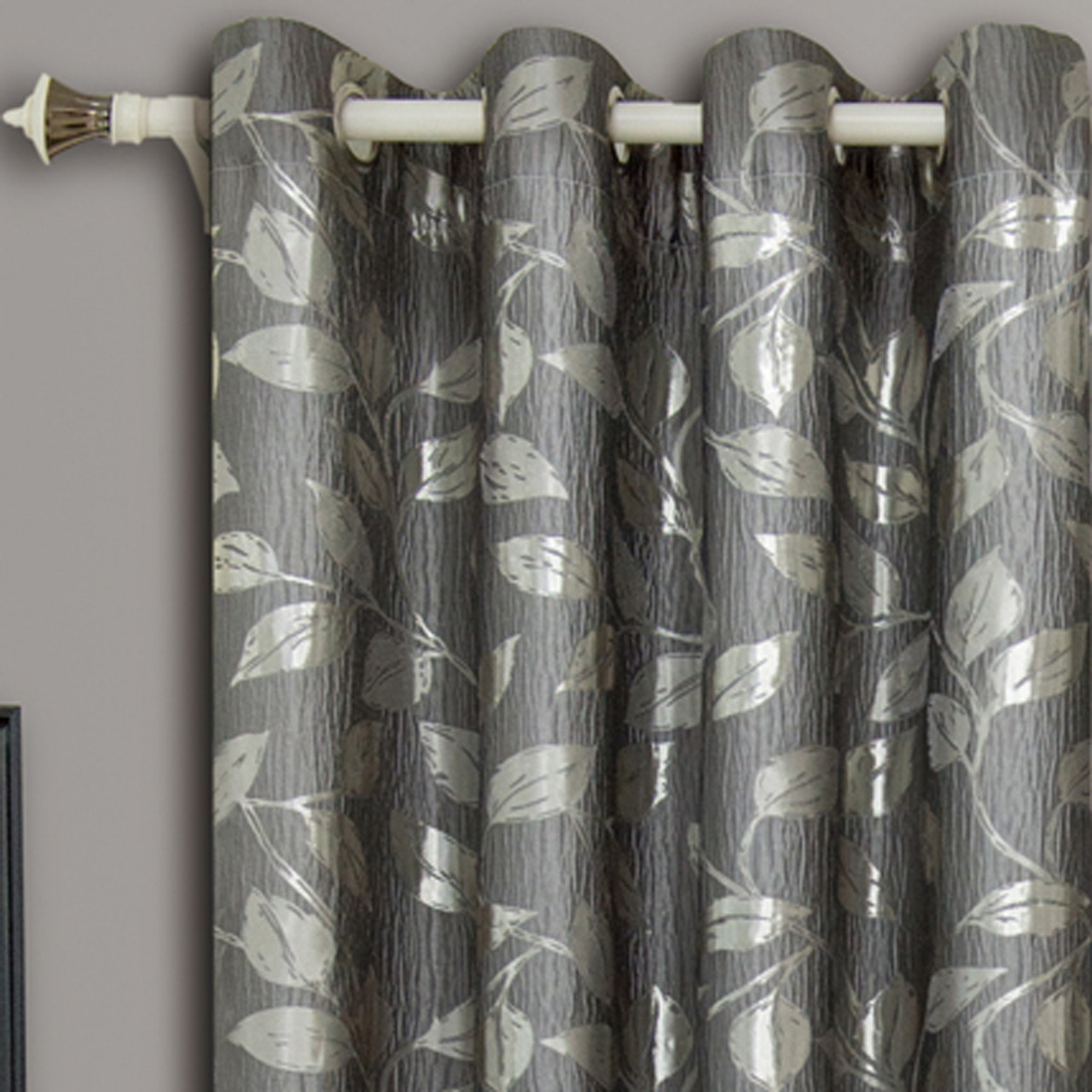 Charlotte Jacquard Drapes Grommet Window Curtain Panels Pair Closeup Grey