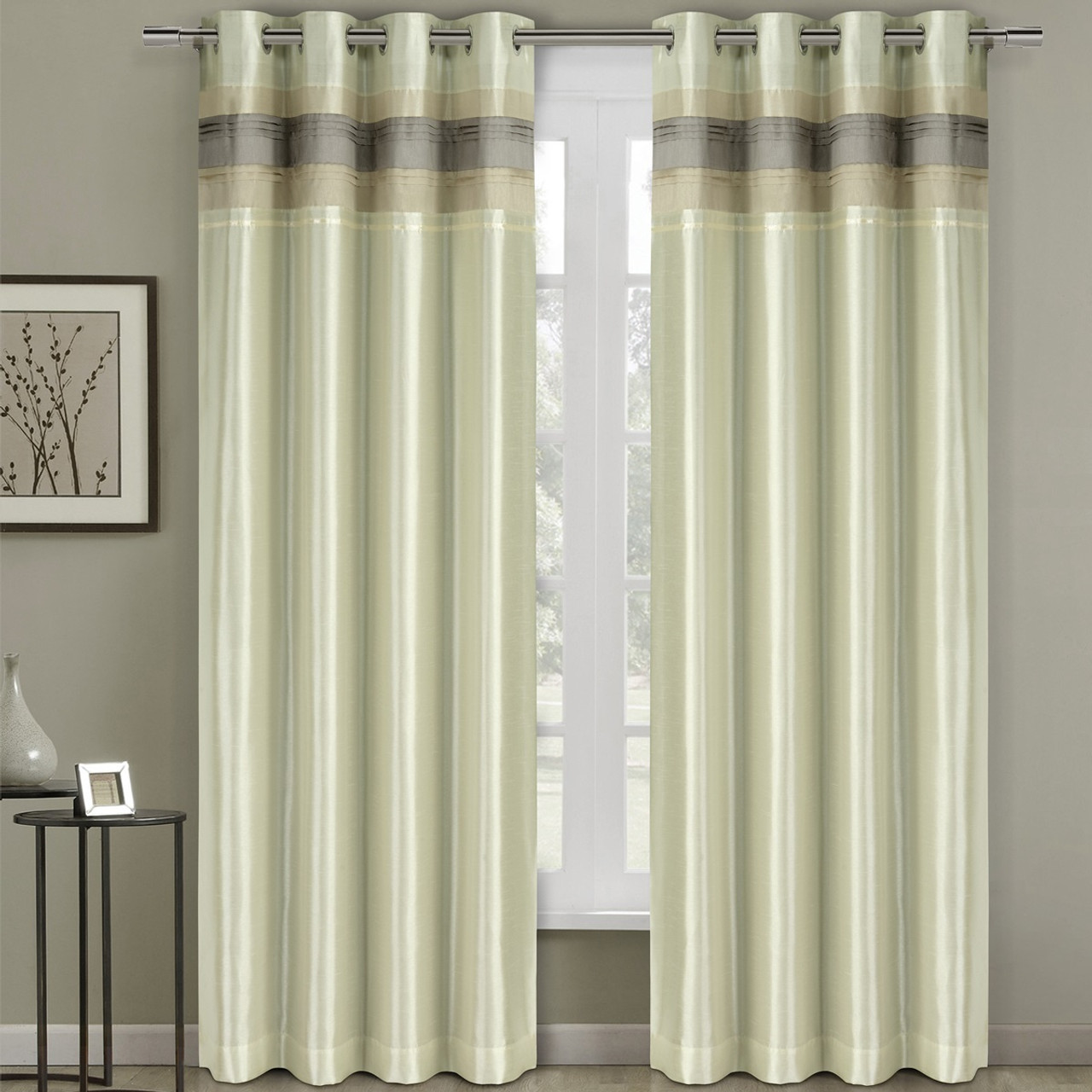 Milan Lined Blackout Curtains With Grommets Single Panel Ivory