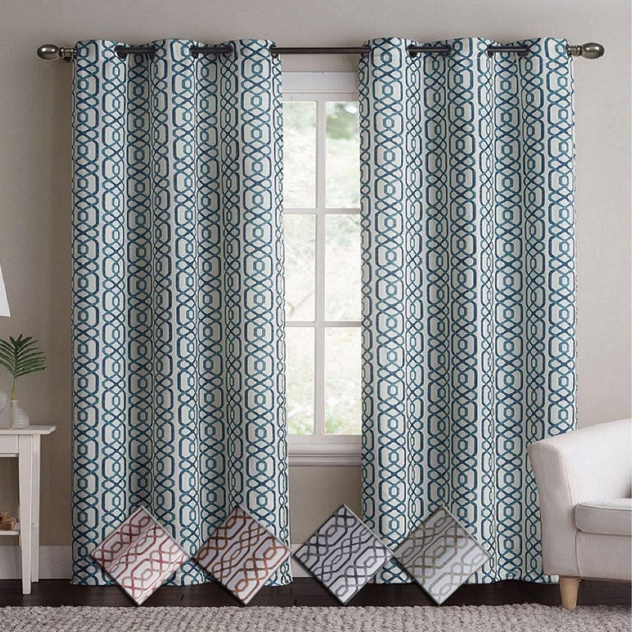 Alexander Blackout Weave Window Curtain Panels With Grommets Pair