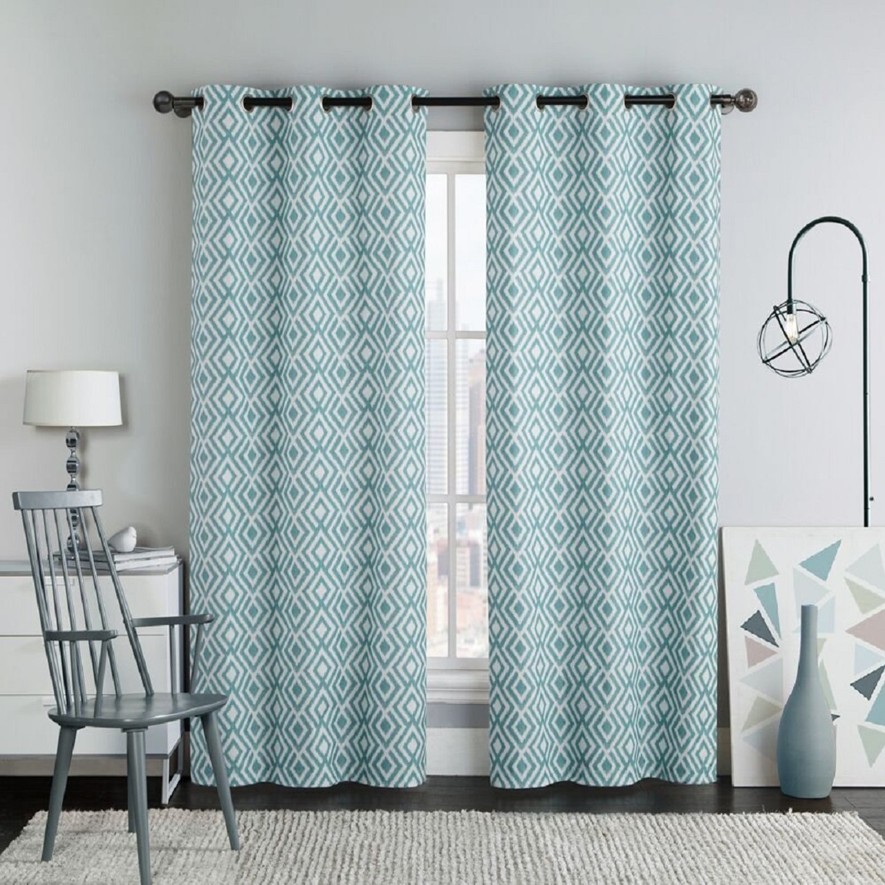 Justin Printed Blackout Window Grommet Top Curtain Panels 76Wx84L (Pair)