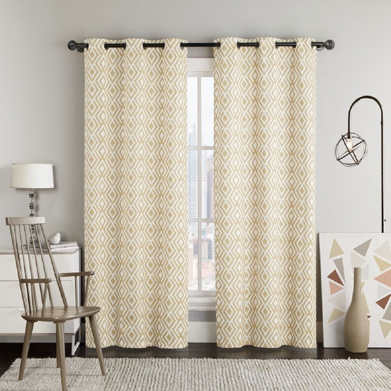 Justin Printed Blackout Window Grommet Top Curtain Panels Pair Gold