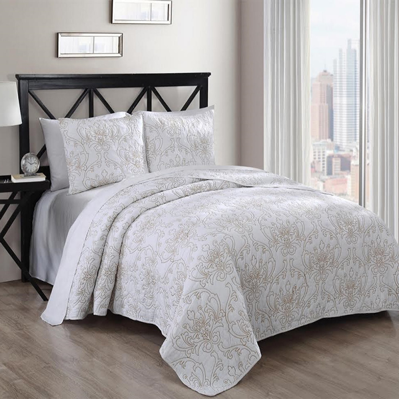 Modern Simmon 100% Cotton Coverlet Set Solid Majestic Pattern ...