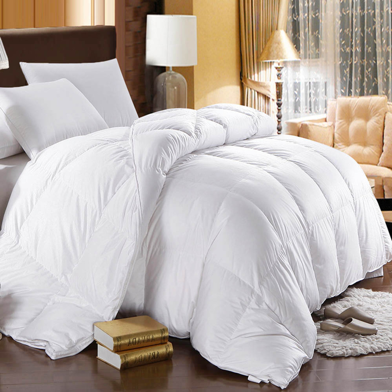 750 Fill White Goose Down Comforter Oversized Extra Warm By Royal Hotel