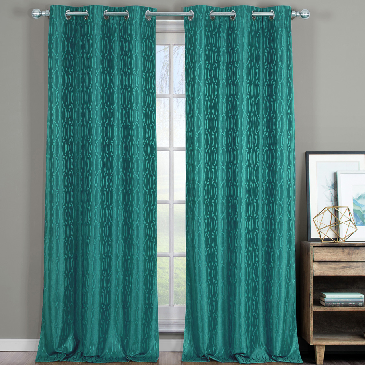 Voyage Blackout Jacquard Textured Thermal Insulated Grommet Teal Closeup VoyageThermal Curtains