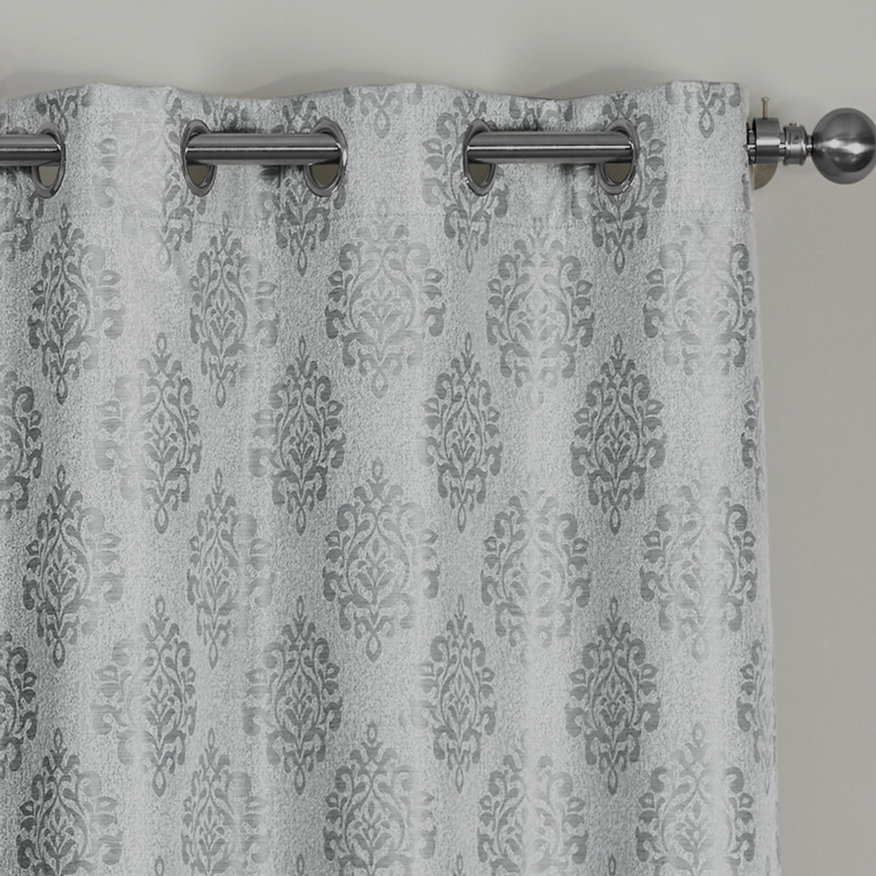 Closeup Paisley Thermal Blackout Jacquard Grommet Top Curtain Panel Gray