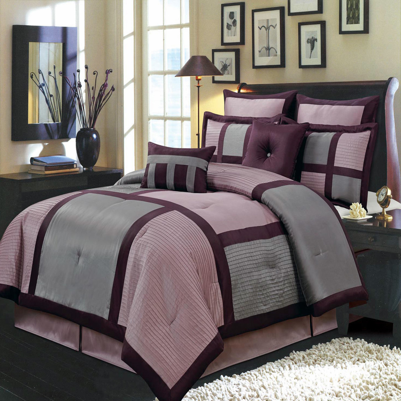 zone com ip damask bedding comforter your purple walmart set dotted