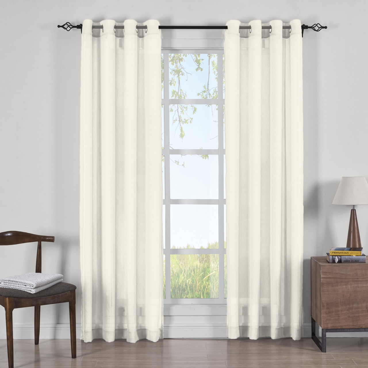 Abri Grommet Crushed Sheer Curtain Panels Set Of 2