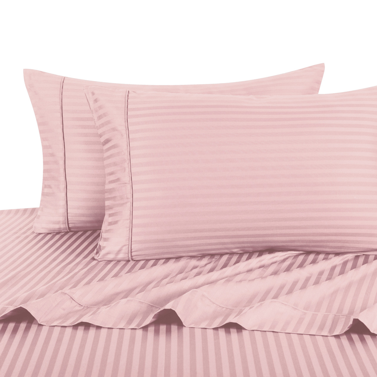 ... Blush Twin Extra Long Sheets 100% Cotton 500 Thread Count Damask  Striped ...