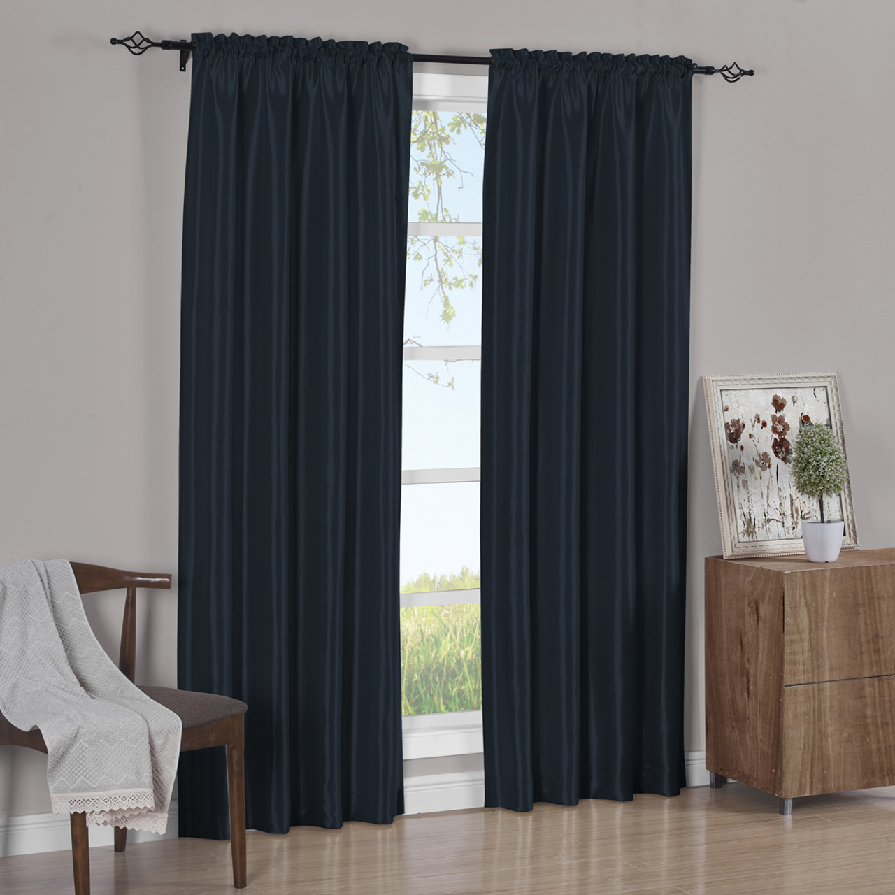 navy curtains drapes tan khaki grommet thermal panels insulated blue top curtain trellis