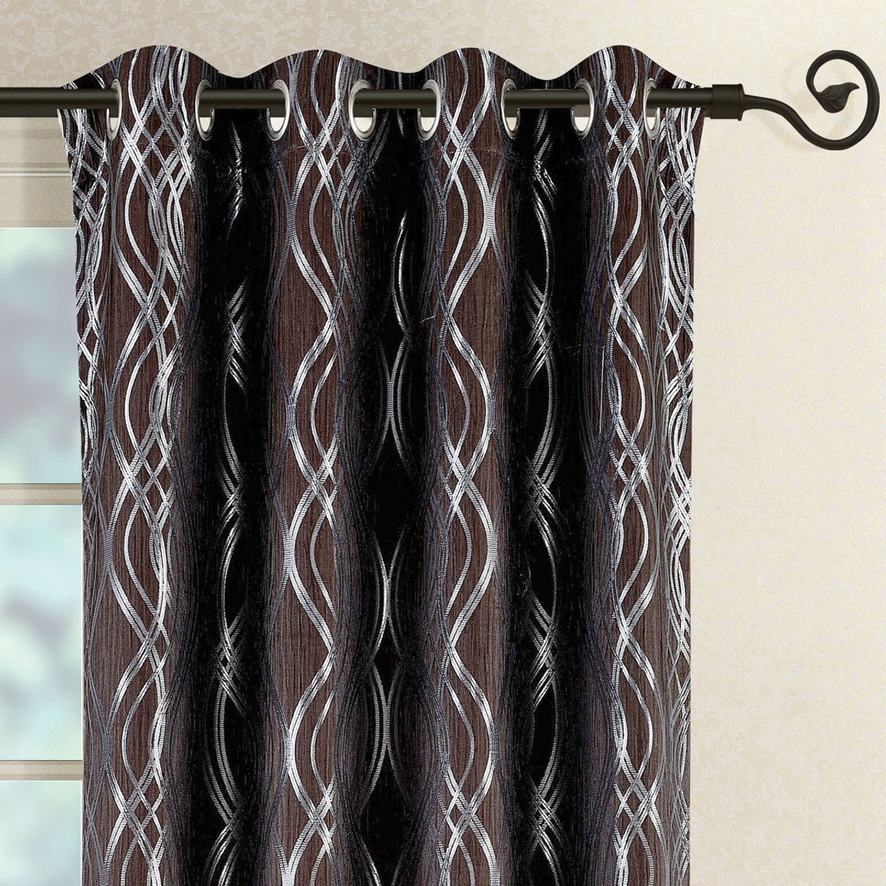 Chocolate Close Up Image Regalia Top Grommet Window Curtain Panels Set Of 2