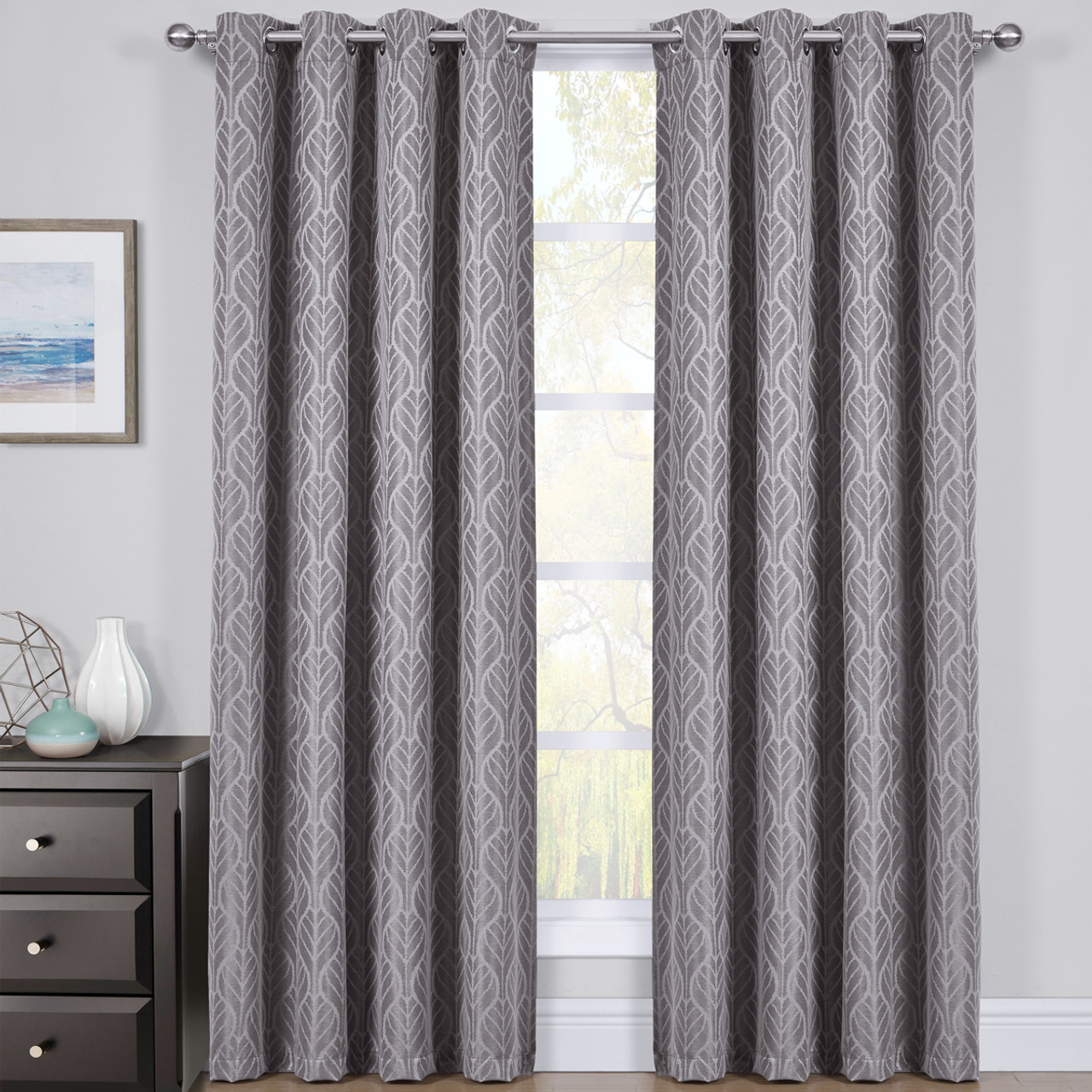 Gray Hilton Blackout Curtains Jacquard Thermal Insulated Pair
