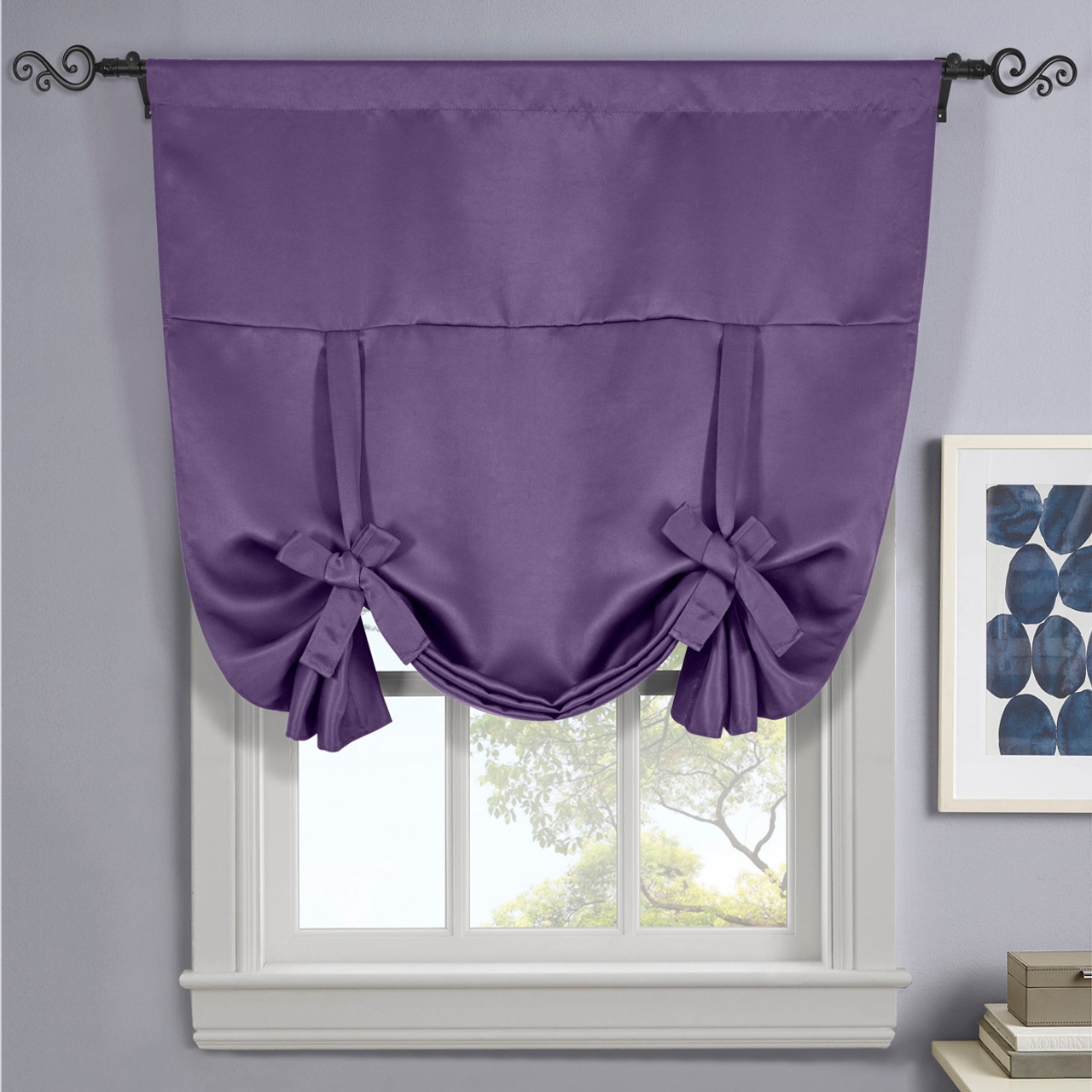 ava blackout weave curtains rod pocket tie up shade for small window. Black Bedroom Furniture Sets. Home Design Ideas