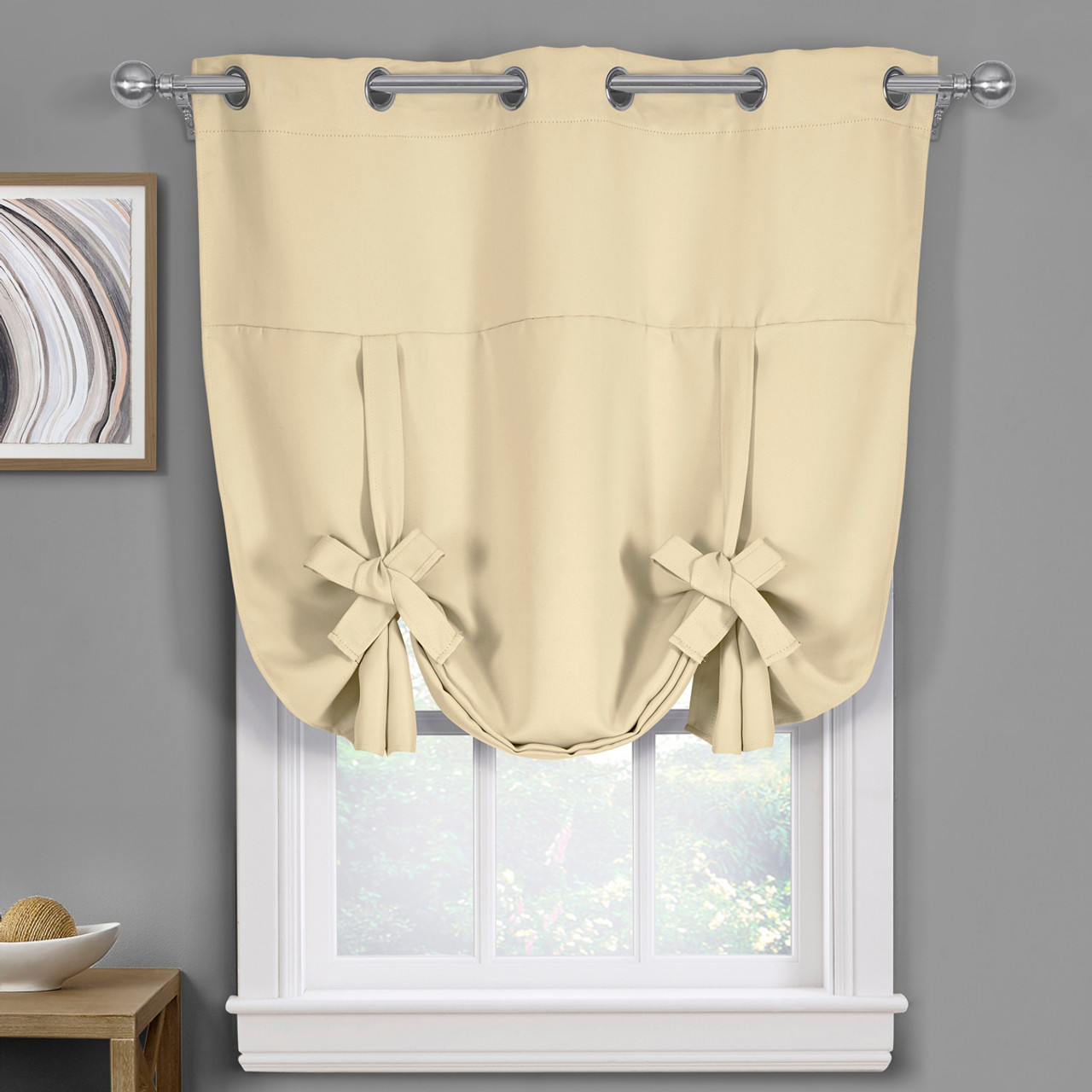 ava blackout weave curtains grommet tie up shade for small window. Black Bedroom Furniture Sets. Home Design Ideas