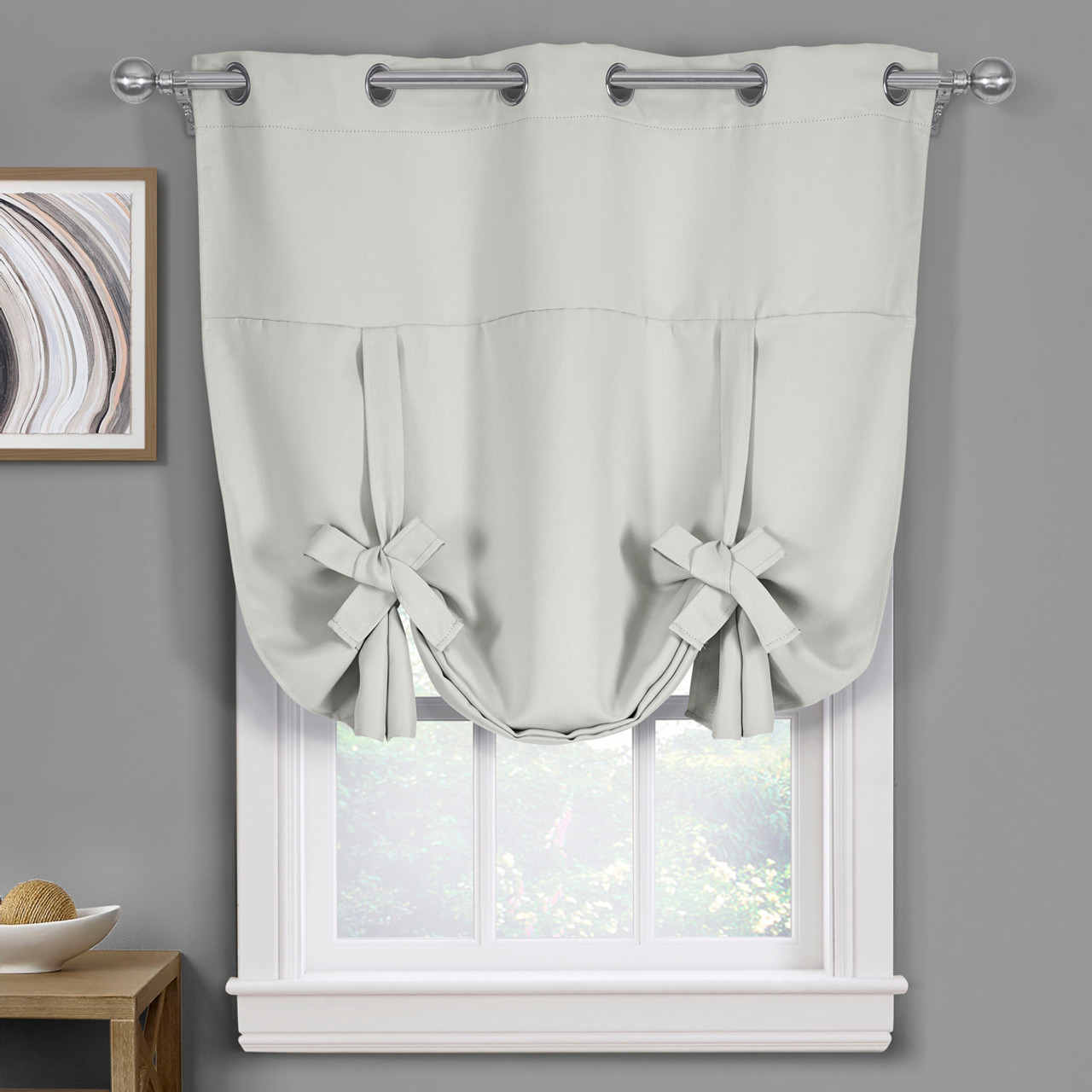 White Ava Blackout Weave Curtains Grommet Tie Up