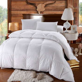 500 Thread Count White Duck Down Comforter Extra Warm Winter Weight Baffle Box
