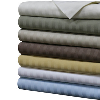 Luxury 1000 Thread Count Sheets 100% Cotton Damask Striped Sheet Set