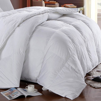 White-duck-Down-Comforter-Cotton-Solid-All-Seasons-closup