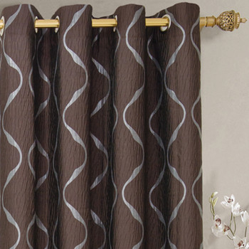 Laguna Contemporary Swirl Jacquard Curtain Panels With Top Grommets (Pair)  -closeup-Chocolate