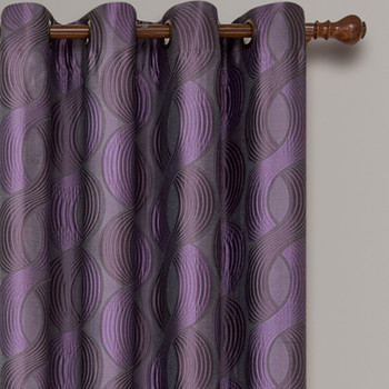 Savanna Inspired Jacquard Curtains Grommet Panels (Set of 2) -closeup-Purple