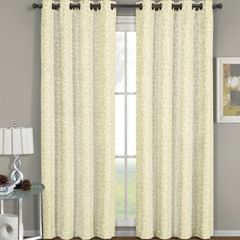 Fiorela Jacquard Drapes Floral Curtains Grommet Top Panel (Single) -Beige