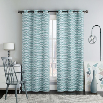 Justin Printed Blackout Window Grommet Top Curtain Panels (Pair) -Blue