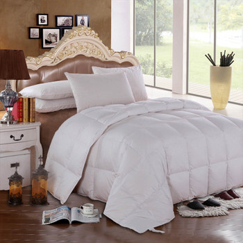 Solid White Goose Down Comforter Oversize All Season 600 FP, 300 Thread count