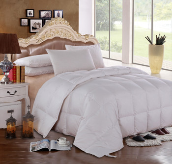 Goose Solid 300: 100% cotton 300 Thread count Solid Shell, 600 Fill Power, Box Stitch Through, All season 40 ounces fill, Medium warmth, Royal Hotel™ $159.99
