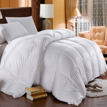 Goose Solid 300: 100% cotton 300 Thread count Solid Shell, 600 Fill Power, Box Stitch Through, All season 33 ounces fill, Medium warmth, Royal Hotel™ $159.99