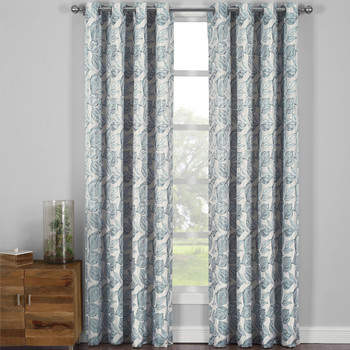Catalina Leaf Swirl Jacquard Curtain Panels Grommet Top (Set of 2)