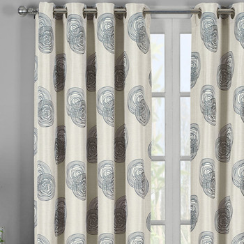 Closeup Lafayette Jacquard Grommet Top Curtain- Gray