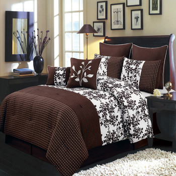 12 Piece Bliss Coffee Bed in a Bag Bedding Set