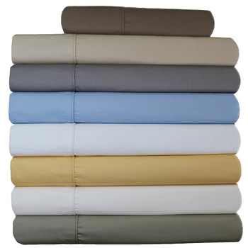 Wrinkle-Free Split King Adjustable Bed Sheets 650tc Cotton Blend Dual King Sheet Set Solid
