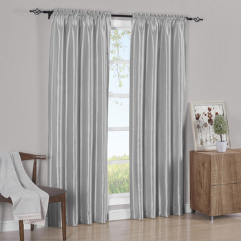 Silver Pair Curtain Panels Soho Faux Silk (Set of 2)